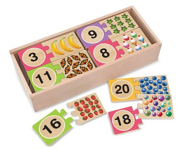 Wooden Numbers Puzzle Cards