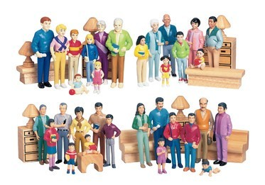 Multi Cultural Pretend Play Families People Figurines
