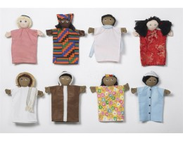 Multicultural Puppets, Set Of 8