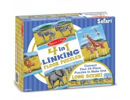 4 in 1 Linking Floor Puzzles - Safari