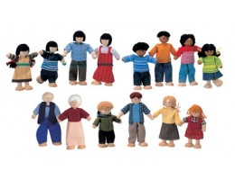 Flexible Wooden Ethnic Doll Families