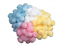 Craft Fluff Balls Assorted 800 pieces White, Blue, Pink, Yellow