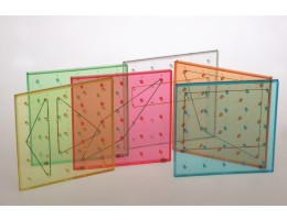 "6"" Transparent Rainbow Colored Geoboards"