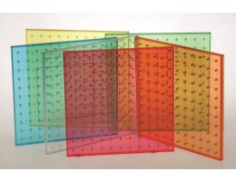 "9"" Transparent Rainbow Coloured Geoboards"