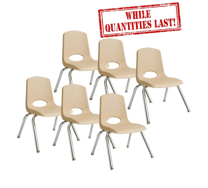"14"" Stackable School Chair - Sand"