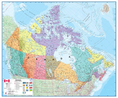 Canada Map Poster with Provincial Flags