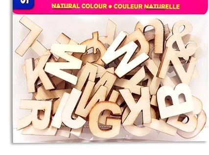 """Wood Letters 3/4"""" Natural Colour (54pc)"""