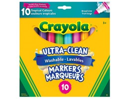 Ultra Clean Washable Broad Line Tropical Coloured Markers 10ct