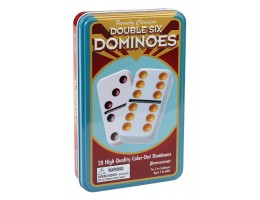 Double Six Color Dot Dominoes in a tin