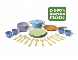 Green Toy Cookware and Dining Set