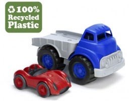 Green Toy Flatbed with Race Car