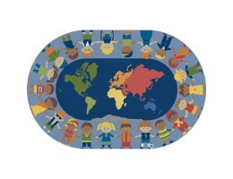 Children of the World Educational Rug – Oval Small