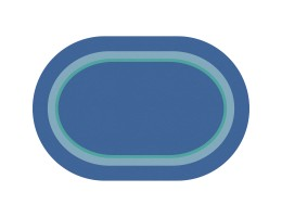 Contemporary Border Blue Educational Rug – Oval Small