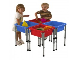 4 Station Square Sand & Water Play Table with Lids