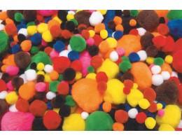 Pom Poms – Assorted Colours and Sizes 1000/bag