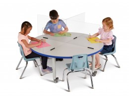 """See-Thru Table Divider Shields - 4 Station - 47.5"""" x 47.5"""" x 16"""""""