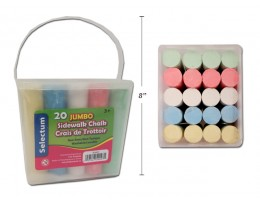 20pc Jumbo Sidewalk Chalk Assorted Colours