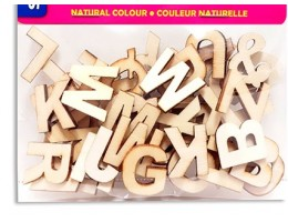 "Wood Letters 3/4"" Natural Colour (54pc)"